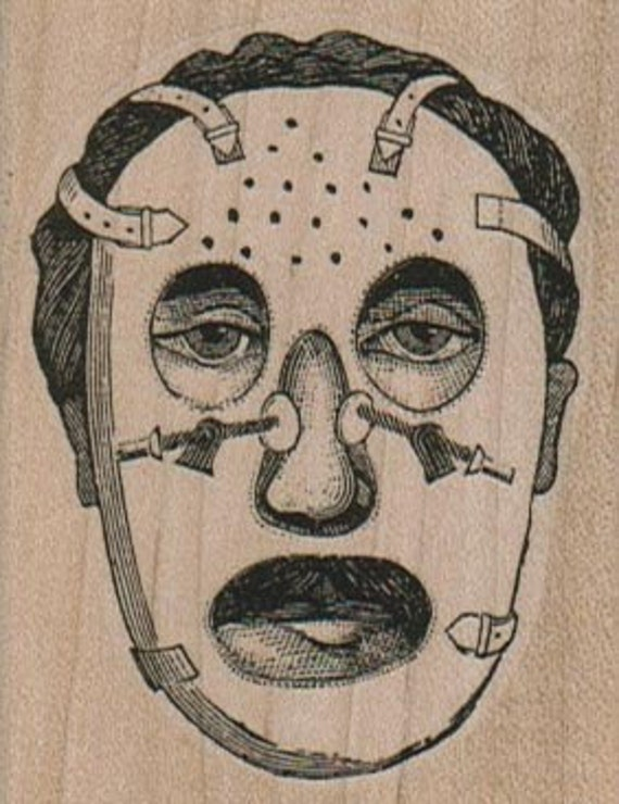 Rubber stamp Man In Corrective Face Mask oddity sci fi  scrapbooking anatomie aufkleber supplies  15956