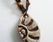 Macrame Sun ceramic pendant choker vintage necklace