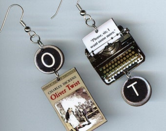 Book cover typewriter Earrings - Oliver Twist Dickens - Graduation students teachers readers bookish literary jewelry gift