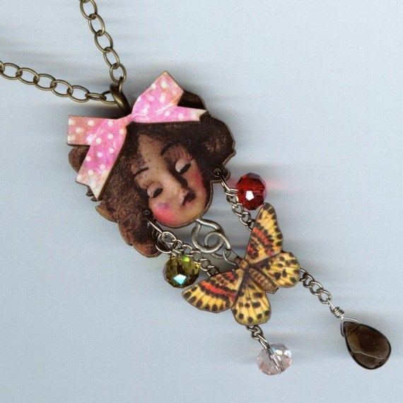 Antique Doll Necklace Scary Face Miss Butterfly pendant Woodcut