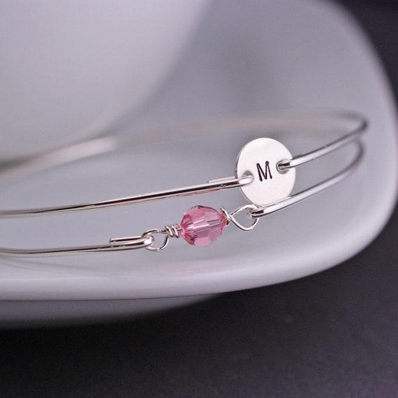 Personalized Pink Bridesmaid Jewelry, Pink Bracelet Set, Personalized Sterling Silver Bridesmaid Bangle, Initial Bangle Bracelet Set
