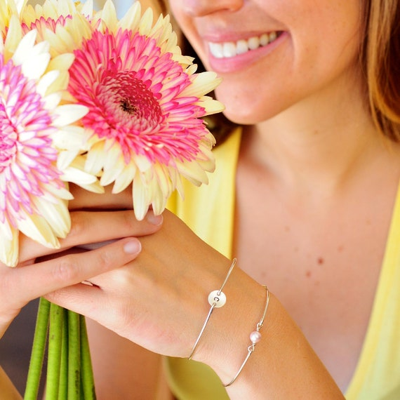Personalized Bridesmaid Jewelry, Simple Initial Bracelet Set, Stackable Bangles, Custom Bangle Bracelet