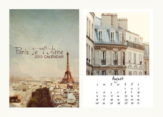 2013 Paris Calendar, Travel Photography Desk Calendar - Paris Je T'Aime Calendar