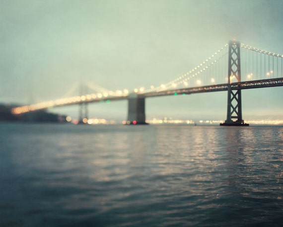 OVERSTOCK SALE - The Bay - San Francisco Photography, Bay Bridge at Night, California, Travel Photography, Blue Green