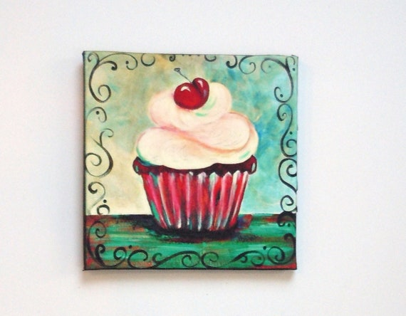 Items similar to red velvet cupcake magnet 4 x 4 inch for Cupcake themed kitchen ideas