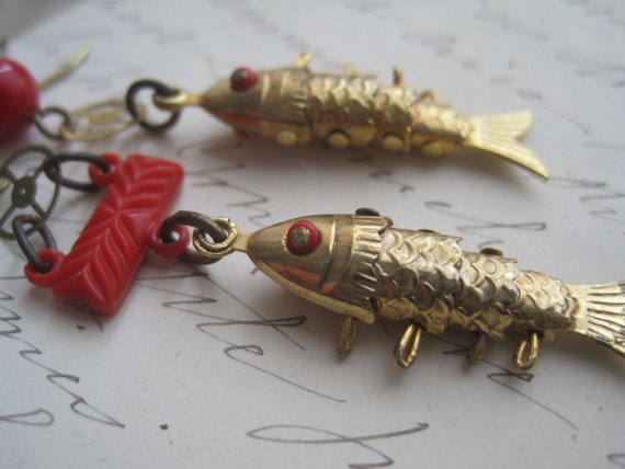 FISH is Fish. steampunk, red, fish, gold, assemblage, gear. assemblage earrings by SacredCake on Etsy