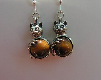 Sterling Siver Cat Earrings With Tiger Eye