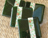 Fused Glass Christmas Coasters, Holiday Green Fused Glass Coaster Set of Four, Christmas Holly Coasters