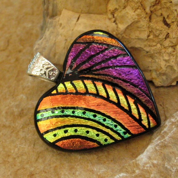 Dichroic Fused Glass Hand Etched  Pendant, Fused Glass Heart Pendant  - Heartfelt Memories