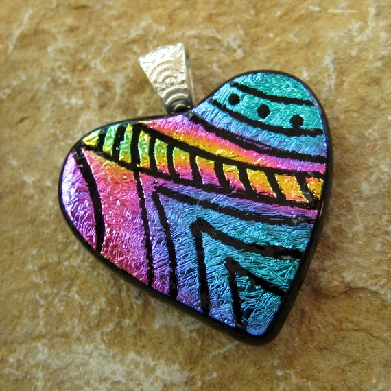 Dichroic Fused Glass Hand Etched  Pendant, Fused Glass Heart Pendant  - Pink and Blue Heart