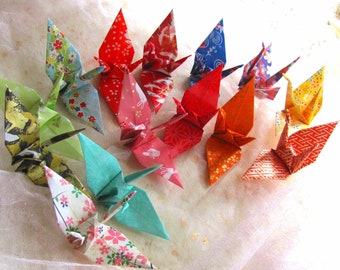 14 Wedding Party Favors Origami Peace Cranes Japanese Kimono Fabric Traditional Classic Paper Ornament Table Decor Greeting Card Enclosure