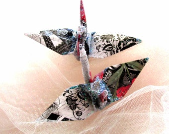 Paris Ephemera Peace Crane Bird Wedding Cake Topper Party Favor Origami Christmas Ornament Paper Place Card Holder Eiffel Tower Decoration
