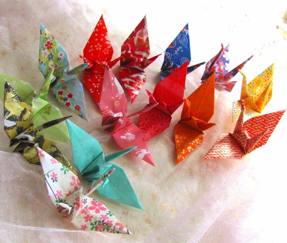 Jp Decor: 14 Wedding Party Favors Origami Peace Cranes Japanese Kimono