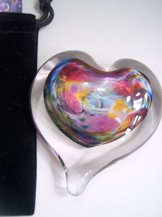 SMALL Hand Blown  Glass Heart Paperweight with Pouch by Rebecca Zhukov