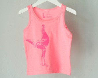 SALE 4T chicken - toddler tank, berry pink hen on candy pink top - 4T