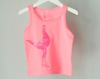 SALE 2T - chicken - toddler tank, hot pink chicken on bubblegum pink shirt- 2T