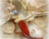 vintage china shoe . shoe figurine . hand painted miniature high heel shoe . made in japan