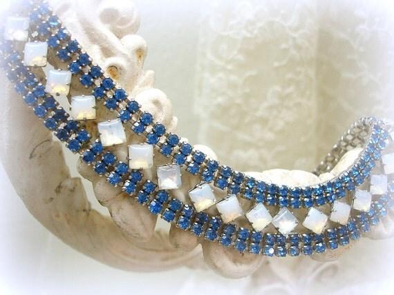 SALE PENDING . vintage rhinestone necklace . bib style . rhinestone collar . 4 row sapphire rhinestone chain opal squares set on point