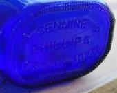 """Large 8"""" Cobalt Blue Vintage Milk of Magnesia Bottle"""