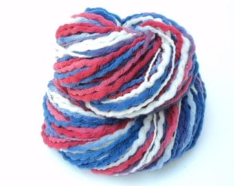 Americana, Hand Dyed, Hand Painted, Thick and Thin, Soft, Wool, Red White and Blue, Bulky, Yarn, 150 Yards