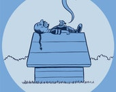 "Snoop Dogg/Snoopy mash-up (""DeezNuts"") blue retro ringer tee"