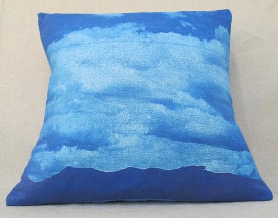 SUPER SALE -- sunprint pillow -- cloudy day