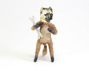 Vintage Inspired Spun Cotton Bull Dog Figure/Ornament