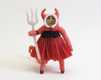 Vintage Style Spun Cotton She Devil Halloween Figure/Ornament