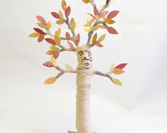 Spun Cotton Vintage Inspired Autumn Tree Man Figure