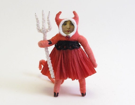 Vintage Style Spun Cotton She Devil Halloween Figure
