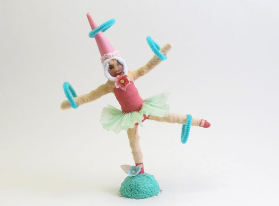 Spun Cotton Vintage Inspired Ring Tossing Circus Girl OOAK