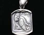 Goddess Athena's Wise Little Owl - Sterling Silver Pendant