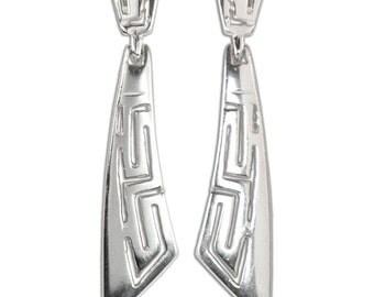 Meander-Greek Key - Sterling Silver Pierced Earrings