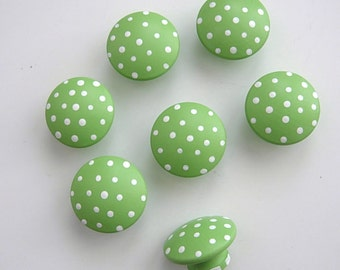 Spring Green ..Set of 7 Medium ..Hand Painted Dresser Knobs or Pulls .for Nursery Room or Bath ...Painted and Ready To Ship