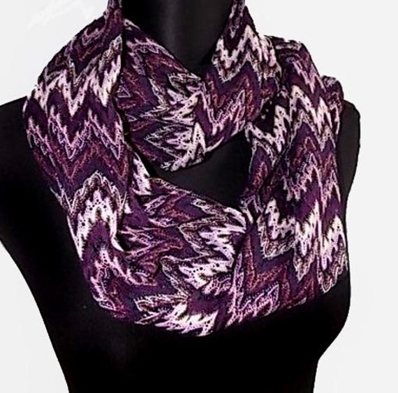 Purple Chevron Print Lightweight Long  Crochet Look Infinity Scarf