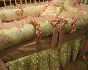 Custom Crib  Set Luxury Dance Ballet themed Bedding   Pink and ivory