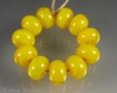 Translucent yellow lampwork beads - Set of 11 - BUTTERCUP - Beadwife SRA