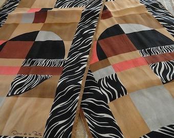 Vintage 80s Oscar De La Renta Zebra Modernist Color Block Silk Scarf