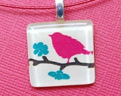 SALE Glass Tile Necklace - Magenta Bird on Branch- Stocking Stuffers - Bridesmaid Gifts