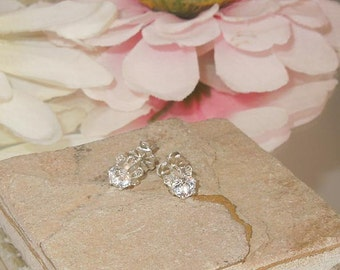 Sterling White Topaz Buttercup Post Stud Earrings 4mm- Snow Queen