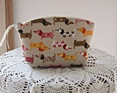 Essential Oils Case Linen Clutch Cosmetic Bag  Purse Doxies on Parade Made in USA Antiquebasketlady