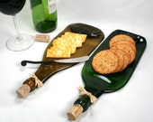 Gold Wine Bottle Flat Serving Tray with Cork and Raffia - Recycled Eco-Friendly - ShifflettStudios