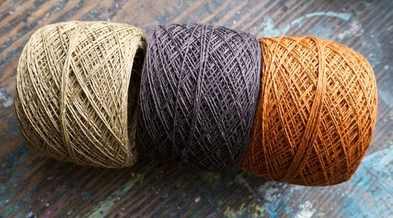 Linen yarn thread -- three balls -- brown, tan, sand