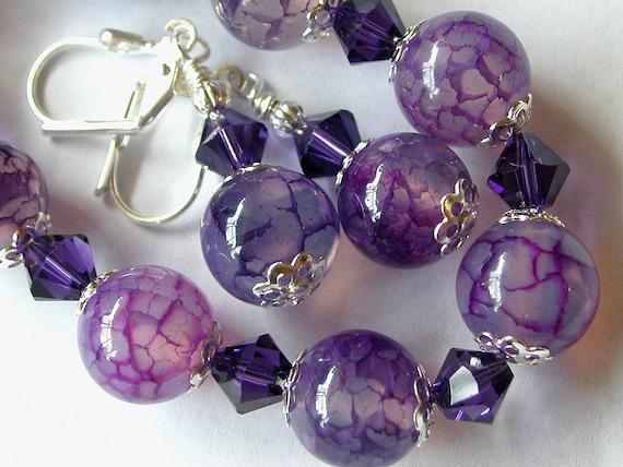 Purple Bracelet and Earrings Dragon Vein Agate Bracelet Swarovski Crystal Silver