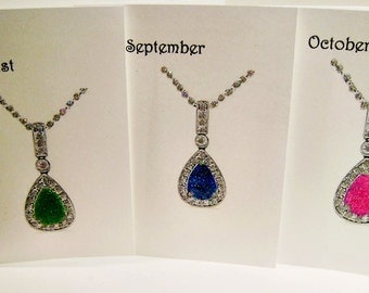 Birthstone Birthday cards -  December - January - February - March - Embellished with soft iridescent glitter - Free Mailing