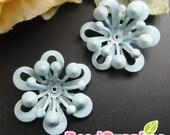 CH-ME-01546 - Color enameled,Layered Flower charm, aqua, 4 pcs