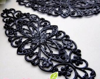 FG-FG-09016- Nickel free Color enameled, Art Nouveau enlongated big filigree V1, black,4 pcs