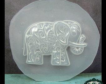 SWIRLY ELEPHANT Flexible Plastic Resin Mold