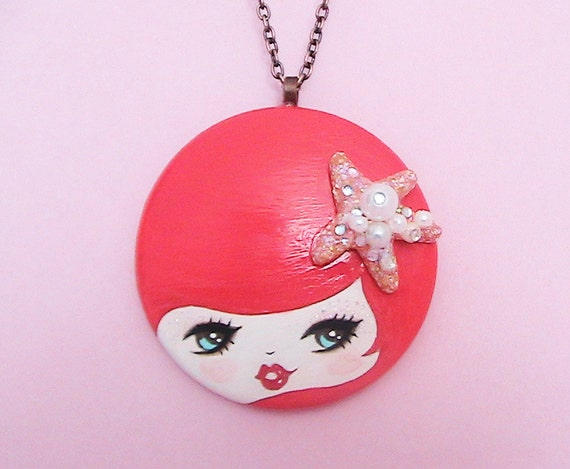 Mermaid Ariel Doll Face Necklace