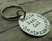 Key chain-handstamped-sterling silver-mens-dad-we love you-fathers day- father of the bride